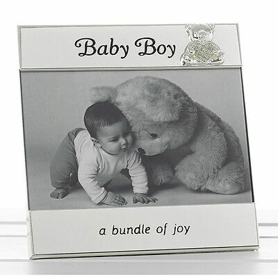 "Gift Baby Boy Message Photo Frame 6"" x 4"" Diamante Teddy Luxurious Gift New"