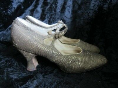 Original 1920s Gold Lame Vintage Shoes size 5.5