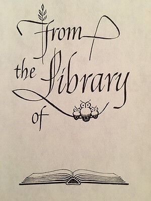 """25 Vintage Antioch Bookplates OWLS """"From the Library of"""" Original Box SELF-STICK"""