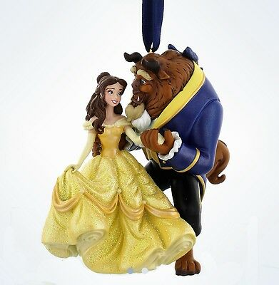 Disney Beauty & The Beast Figurine Ornament Christmas Decoration, Belle & Beast