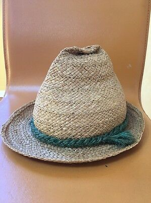 Vintage Straw Tyrolean hat Alpine Made In Italy Medium Green Band 6 5/8