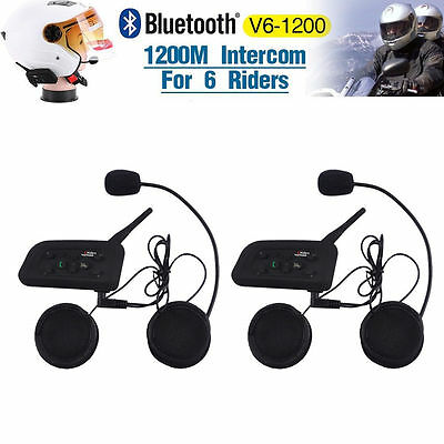 2 x 1200M BT Bluetooth Motorcycle Helmet Interphone Intercom Headset