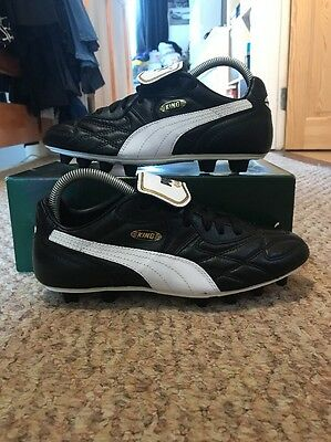 Puma King Top DI FG K Leather Football Boots Black/White/Gold Size Uk 6.5