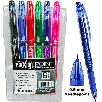 Pilot FriXion Point 0.5 mm Erasable Gel Pens, 6 Color Set In Plastic Pouch