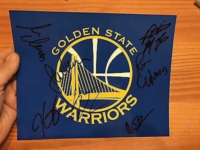 GOLDEN STATE WARRIORS AUTOGRAPHED KEVIN DURANT SIGNED 8x10 TEAM LOGO PHOTO KLAY