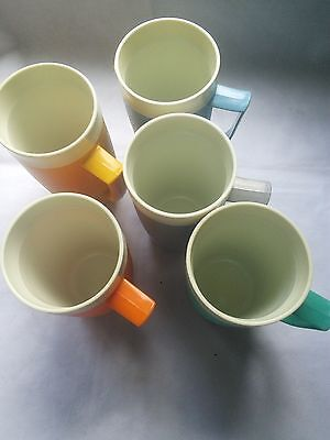 Vintage Sunfrost Therm O Ware Insulated stacking cups mugs with handle set of 5