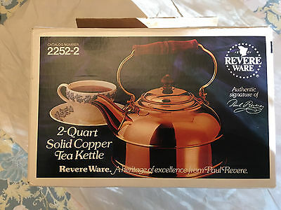 Revere Wear Copper 2 Quart Tea Kettle # 2252-2