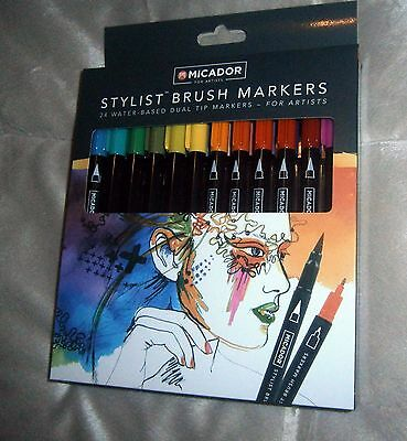 MICADOR 24 Stylist Brush Markers Artist Quality Water Based Dual Tip Fashion NEW