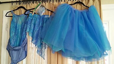 Adult X-Large Perwinkle Blue Ballet Leotard and Tutu +Skirt Bouquet of Happiness