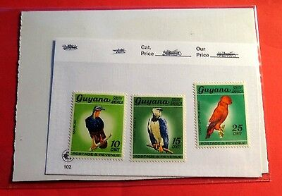 Guyana South America 3 exotic Birds Mint NH Stamps  ST53