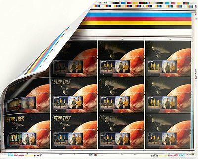 Star Trek 50Th Anniversary Lenticular Un-Cut Press Sheet $5 Stamps Canada