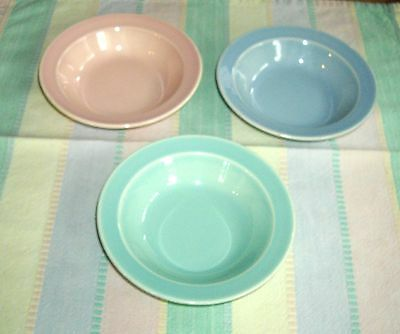 Vintage TS&T Lu-Ray Pastels Fruit Bowls ~ SET of 3  ~ Pink, Green AND Blue ~