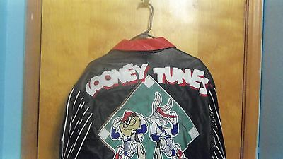Rare Warner Brothers Looney Tunes Leather Jacket Womens Ladies Small Lovely