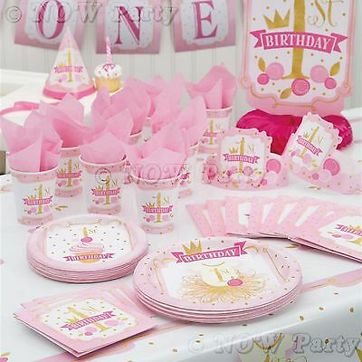 1st First Birthday Girls Pink & Gold Party Supplies Tableware & Decorations
