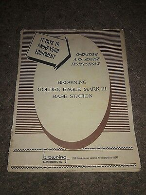 Original BROWNING GOLDEN EAGLE MARK III 3 BASE STATION OWNERS MANUAL