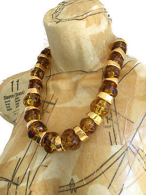 Vintage Kenneth Jay Lane Chunky Amber and Gold Bead Necklace Chunky Bold