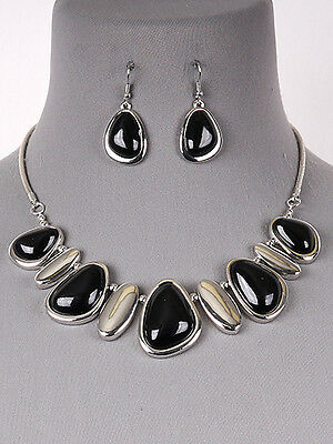 Black Bead Stone Silver Tone Statement Necklace Earrings Fashion Jewelry Set