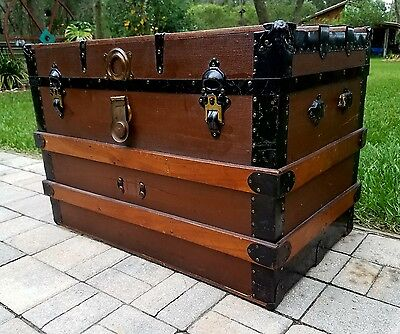 Steamer trunk flat top slat stage coach chest coffee table storage antique