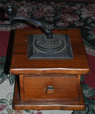 Antique Vintage Large Wood Ornate Cast Iron Coffee Grinder Coffee Mill VTG Crank