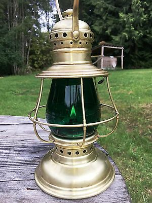 Antique CT Ham Railroad Conductor Lantern With Green W.T.K. Queen Globe