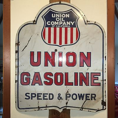 Union Oil Company Double Sided Porcelain Gas Station Sign ORIGINAL 1920's
