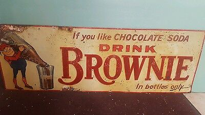 Super Rare Brownie Soda Embossed Horizontal Tin Sign 1920's-1930's New Old Stock