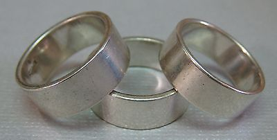 Vintage Sterling Silver Ring Lot Wide Plain Wedding Style Bands