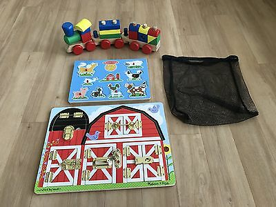 Melissa and Doug Lot of 3 ~ Train Puzzle, Lock Puzzle, and Animal Sound Puzzle