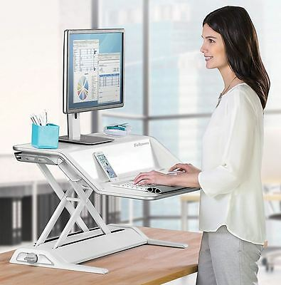 Fellowes Lotus Sit-Stand Adjustable Stand Up Computer Desk Workstation, White