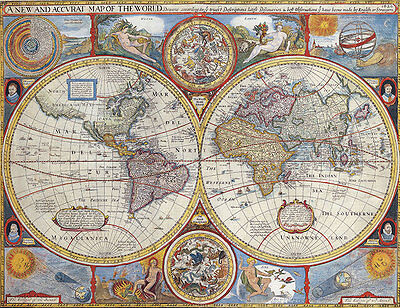Map of the World 1646 A2 High Quality Canvas Art Print