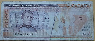 MEXICO 1989 5000 PESOS  Serie KH  El Banco De Mexico well circulated