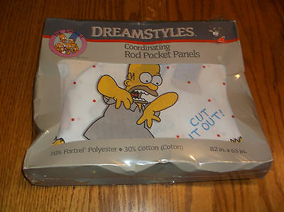 NOS Vintage Simpsons 82x63 Rod Pocket Fabric Curtain Panels Bart Homer 1990 NEW