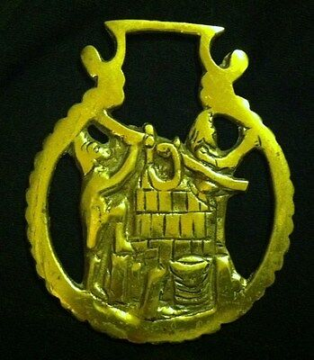 RARE! Vintage MANUAL FIRE ENGINE Horse Harness Brass England  WOW YOUR WALLS!