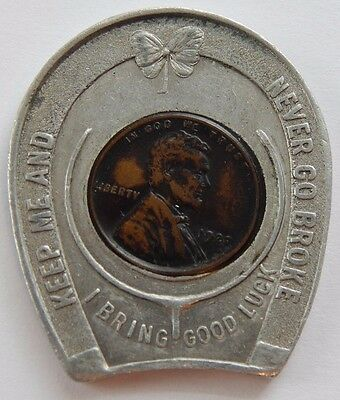 1920 Horseshoe Encased Lincoln Wheat Keep Me And Never Go Broke I Bring Luck !