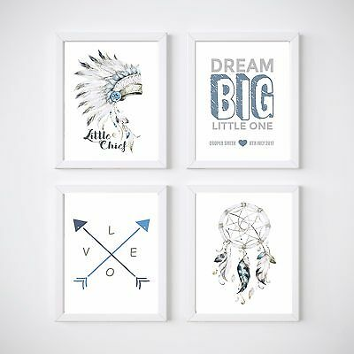 Tribal Nursery Decor, Kids Wall prints, Dream Big personalised, your choice of s
