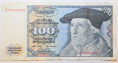 Germany: 100 Deutsche mark since 2 January 1970 in Fine condition. NF 0665702 J