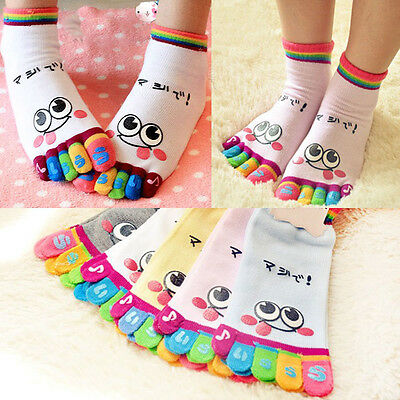 Women Socks Smile Five Fingers Trainer Toe Socks Ankle Sport Cotton Socks