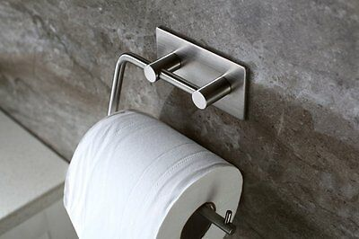AdhesiveStainless Steel Toilet Paper Roll Holder Tissue Storage Hook Wall Mount