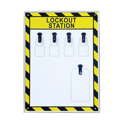 EFLE 5 Hooks Security Lockout Station for Safety Padlocks,Unfilled, Station Only