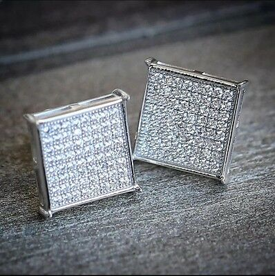 12mm Mens 18k white Gold Finish Real Silver Square Lab Diamond  Studs Earrings