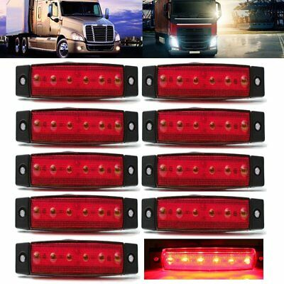10x Red LED Clearance Side Marker Light Indicator Lamp Strip Truck Trailer Lorry