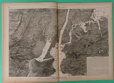Harper's Weekly 5/6/1871 complete   Map of New York City from a Balloon