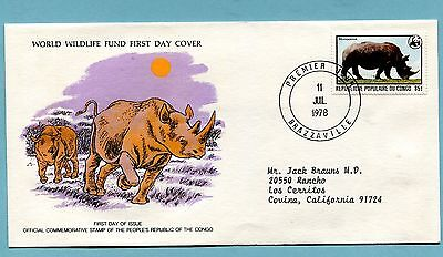 THREE  Belgium Congo Animall FDC, sent to USA, Giraffe, Buffalo, & Rino   (1211
