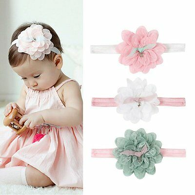 Kid Girl Baby Toddler Infant Flower Headband Hair Bow Band Hair Accessories AU