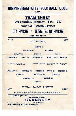 Birmingham City v Crystal Palace Reserves Programme 15.1.1947