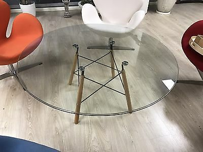 Large Glass Coffee Table 120 Wooden Legs, Metal Frame