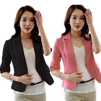 Casual OL Women Slim Fitted One Button Short Blazer Coat Jacket 3/4 Sleeve Suit