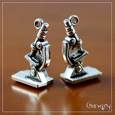 Microscope charm ~PACK of 2~ miniature doll house science scientist gift pendant