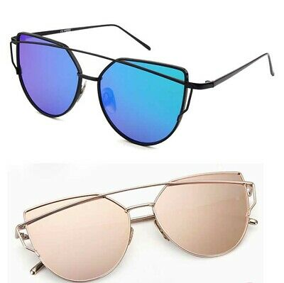 Women's Glasses Metal Flat Lens Vintage Mirrored Oversized Cat Eye Sunglasses