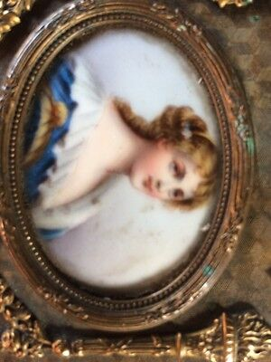 19Th Century Bronze Casket Jewellery Box With A Hand Painted Portrait